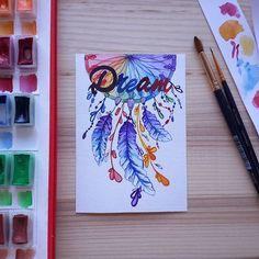#handmadeTN #drawing #dreamcatcher #acquarelle #watercolor #хобби #любовь #любимоедело #рисунок #drawing #postcard #открыткиназаказ