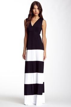 Striped V-Neck Maxi Dress