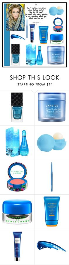 """""""Blue in Beauty"""" by freida-adams ❤ liked on Polyvore featuring beauty, Gucci, Laneige, Davidoff, Eos, MAC Cosmetics, Shiseido and Guerlain"""