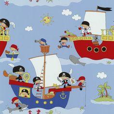 1 ROLL, PIRATE SHIP PIRATE DOLPHIN SHARK VINYL CHILDREN WALLPAPER 05490-10 | eBay