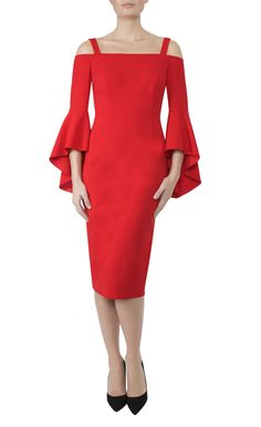 Occasion Wear | Tulip Red Crepe Dress