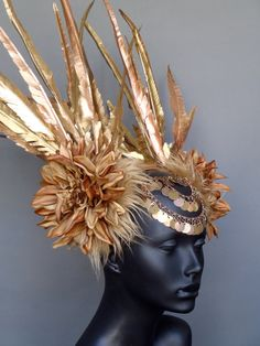 MADE TO ORDER  Gold Faux Feather Headdress. $250.00, via Etsy.