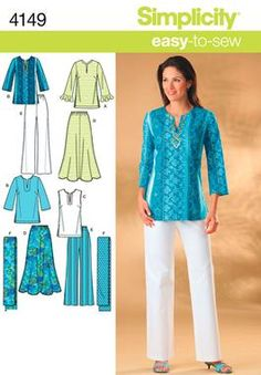 Simplicity 4149 - easy-to-sew tunic, skirt, pants & scarf.  Looks so comfortable!