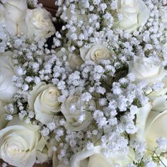 White roses and baby's breath bouquet