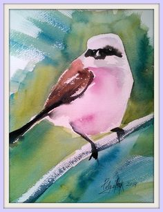 """ARTFINDER: Bird # 17 by Polina Morgan - This piece is part of """" Watercolor Bird Collection"""" Artwork sealed in mat frame that will fit in inches frame. Watercolor Bird, Sign Printing, Paintings For Sale, Original Art, Gallery, Artist, Artwork, Prints, Photography"""
