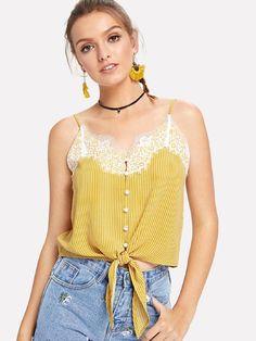 Lace Applique Stripe Button Cami Top -SheIn(Sheinside)