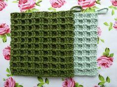 Waffle stitch - pattern in Dutch Crochet Kitchen, Crochet Home, Love Crochet, Knit Crochet, Patron Crochet, Crochet Stitches Patterns, Crochet Chart, Stitch Patterns, Waffle Stitch