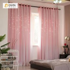 DIHIN HOME Elegant, monochrome pink printed printed blackout grommet window curtain for the living room, 52 x 63 inches, 1 panel – Curtains 2020 Living Room Decor Curtains, Home Curtains, Living Room Windows, New Living Room, My New Room, Window Curtains, Bedroom Decor, Nursery Curtains Girl, Bay Window