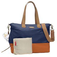 Storksak Color Block Tote Diaper Bag - Navy And Orange | Designer Diaper Bags www.duematernity.com