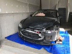 Attempting to Repair Front Collision Salvaged Tesla Auto Collision, Collision Repair, Bumper Repair, Costa, Car, Automobile, Autos, Cars