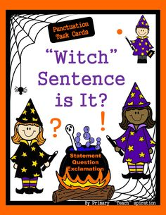 "$ Punctuation Task Cards - Help your students have a ""Boo-ti-ful"" time while learning about these three sentence types (statements, questions, & exclamations).  They can be used to play ""Spooky Punctuation Scoot"" (directions included) and in a variety of other ways.  Included are 32 cards, recording sheet, answer key and 3 posters explaining each sentence type."