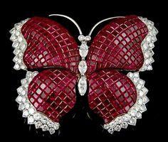 Diamond Ruby Butterfly Brooch