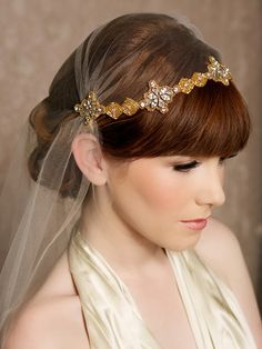 Gold Crystal Juliet Cap Veil Vintage Inspired Tulle Veil, Juliet Veil, Rhinestones, Swarovski Crystals, Art Deco - Made to Order - CHELSEA - $152.00 at etsy.com
