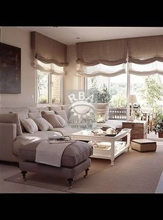 all the way to ceiling Living Room Colors, Cozy Living Rooms, Home Living Room, Living Room Designs, Living Room Decor, Home Curtains, Curtains With Blinds, Roman Blinds, Home Staging