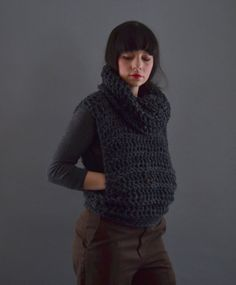 Hey, I found this really awesome Etsy listing at https://www.etsy.com/listing/262525695/cowl-knit-vest-crochet-vest-with-hood