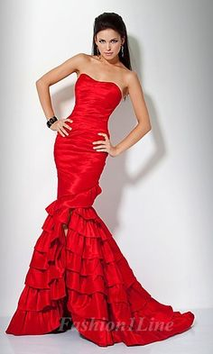Unique Mermaid Black & Red Formal Gown by Designer Mac Duggal ...