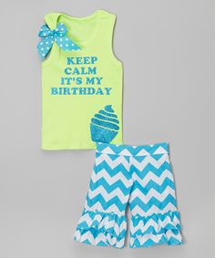 Look at this #zulilyfind! Lime 'Keep Calm' Tank & Shorts - Infant, Toddler & Girls by Beary Basics #zulilyfinds