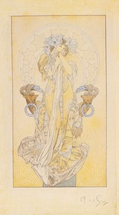 Alphonse Mucha - Princesse lointaine Signed Mucha in pencil (lower right) watercolor over pencil on Turkey Mill 1886 watermarked paper the border with pen, ink and watercolor with gold edging image: 7 x 3 3/4 in. (17.8 x 9.5 cm) sheet: 9 1/4 x 6 3/8 in. (23.5 x 16.2 cm) with hand-done border: 14 x 10 5/8 in. (35.6 x 27 cm) circa 1900