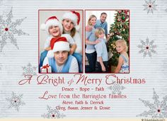 Rustic Simplicity Christmas Photo Card - Bright & Merry Families