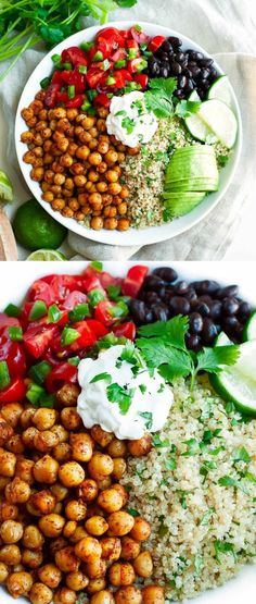 Roasted Chickpea Quinoa Taco Bowls are fast, fresh, and flavorful! #chickpeas #tacobowls #vegetarian #vegan #glutenfree