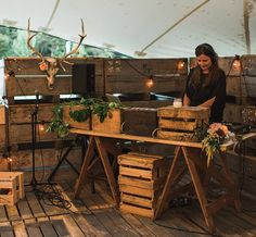 Rustic dj booth - If we need to create an area for our MC, we could use hay bales or something like this