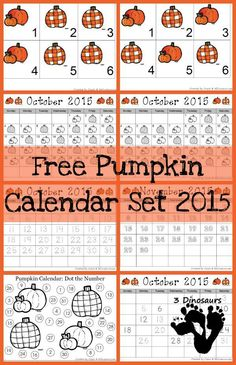 Free 2015 Pumpkin Calendar - - AB and ABB pattern cards, 6 pumpkin themed cards and 5 different single page calendar sheets - 3Dinosaurs.com