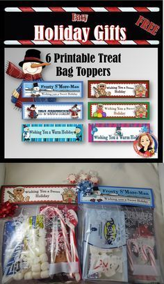 6 Free printable treat bag toppers for making party favors and Christmas or Winter Holiday gifts. Easy and inexpensive ideas for fun bag fillers are included. Great for students, teachers, volunteers, classrooms, kids parties, neighbors, or anyone. #holiday gifts, #classroom gifts, #DIY christmas gifts, #holiday party favors, #Christmas teacher gifts, #school holiday party ideas