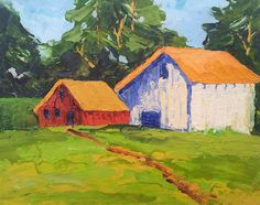 Oil Painting Original 8x10 Landscape California FARMYARD BARN & SMOKEHOUSE Lynne French Art