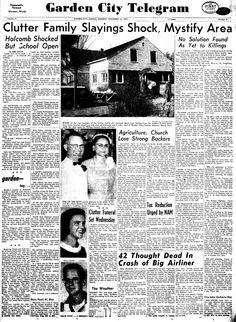 """Pagina completa del diario """"Garden City Telegram"""", informando sobre los asesinatos en Holcomb."""