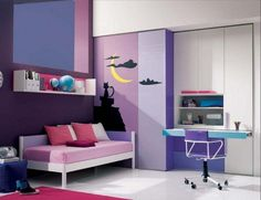 Awesome Teen Bedroom with Contemporary Table design Ideas : Adorable Teen Table Design For Elegant Bedroom Decoration Ideas With Small Sofa Bed Beside Purple Painting Wall And Pink Rug On Floor Also Wardrobe Corner