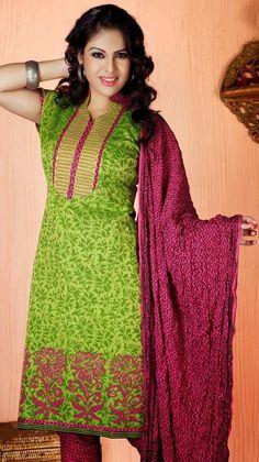 $50.41 Green Printed Cotton Silk Churidar Salwar Kameez 26116