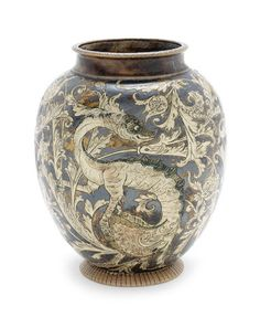 Martin Brothers A Stoneware Vase with Dragons, 1889