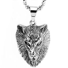 HAMANY Punk Rock Jewelry Mens Stainless Steel Wolf Head Pendant Necklace -with 24 inch Chain