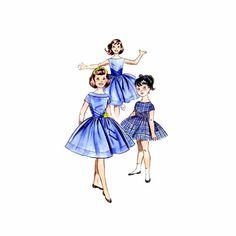 1960s Girls Full Skirt Dress Butterick 9643 Vintage Sewing Pattern