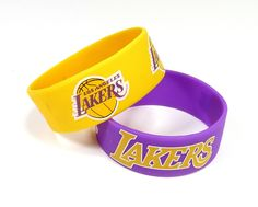 ~Los Angeles Lakers Bracelets - 2 Pack Wide~backorder