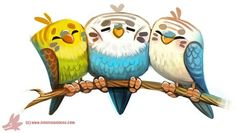 Daily Paint #1121. My Old Budgies by Cryptid-Creations.deviantart.com on @DeviantArt: