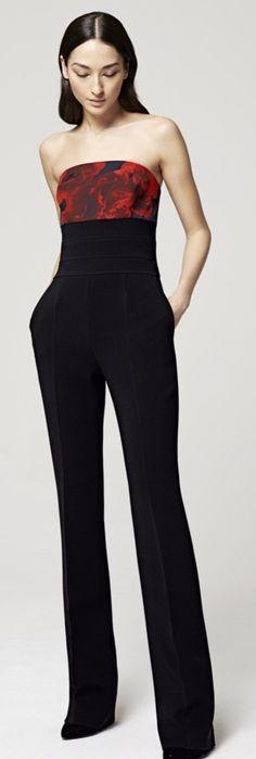 Women's fashion   Floral top black jumpsuit Escada Resort 2016 Not sure this is Lingerie??  But hot model.