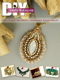 Inside DIY Jewelry Making Magazine #58 are 5 tutorials on how to make earrings, bracelets, a necklace and a pendant. In creating these 5 jewelry designs, you will explore beading techniques such as Right Angle Weave, Peyote Stitch and Free-form beadweaving. #beading #beadingtutorial #tutorial #jewelrymaking #jewelry #handmadejewelry #handmade #diy #diyjewelry #diyjewelrymakingn
