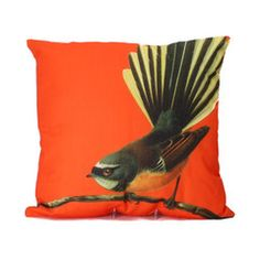 Bird Cushion Orange Fantail | Iko Iko, the most exciting shop for gifts, homewares, accessories and more.