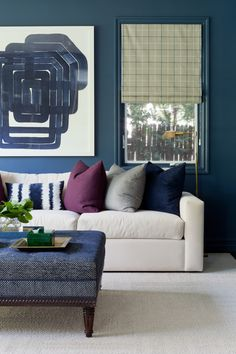 A jewel-toned modern living room by Jenn Feldman Designs gets recreated for less by copycatchic luxe living for less budget home decor and design Glam Living Room, Living Room Colors, Cozy Living Rooms, Living Room Modern, Living Room Sofa, Living Room Furniture, Living Room Inspiration, Family Room, Kitchens