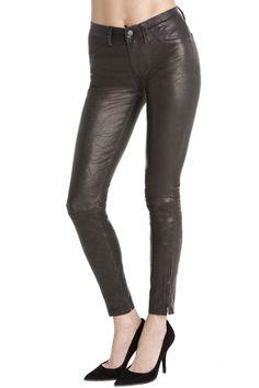 J Brand - L8001 Leather Super Skinny in Noir, Mid-rise, 100% Lambskin, $895
