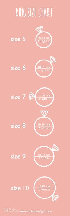 Ring Size guide. Pin and save it. https://www.etsy.com/shop/InbalDesigns
