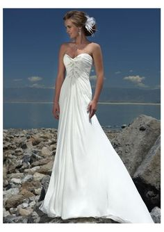Chiffon Sweetheart Strapless Slim A line Skirt with Rouched Bodice and Chapel Train Beach Wedding Gown WM-0225