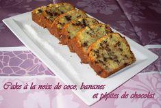 Cake à la noix de coco, bananes et pépites de chocolat