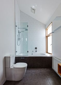 slanted ceiling bathroom awesome shower ideas for slanted ceilings images dream home intended ceiling bathroom inspirations tiny attic bathroom sloped ceiling Attic Bathroom, Bathroom Interior, Modern Bathroom, Small Bathroom, Bathrooms, Minimal Bathroom, White Bathroom, Bathroom Ideas, Dream House Interior