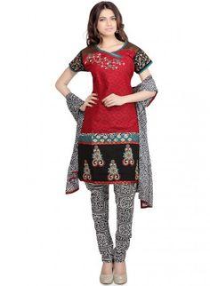 Red and Black Cotton and Shantoon Short Kurti and Churidaar
