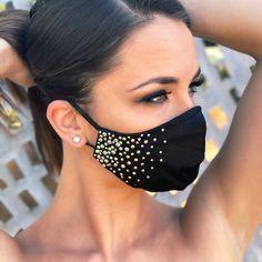 Mouth Mask Fashion, Fashion Face Mask, Easy Face Masks, Diy Face Mask, Ballroom Jewelry, Nose Mask, Maquillage Halloween, Black Rhinestone, Diy Mask