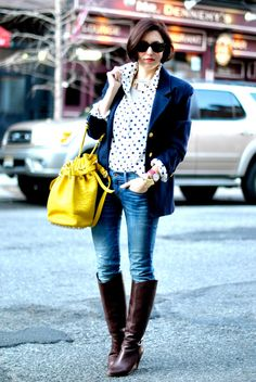 love the print combinations of blue and the boots!