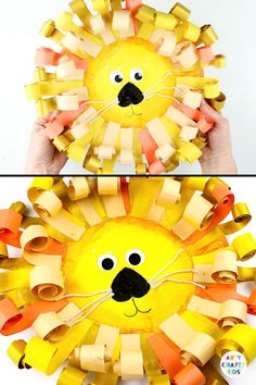 Easy Paper Plate Lion craft for kids! Kids can practice their scissor skills and give their little hands a fine motor workout creating the gorgeous paper mane. A fun and engaging lion craft that kids will love! for kids Paper Plate Lion Craft Animal Crafts For Kids, Fall Crafts For Kids, Paper Crafts For Kids, Art For Kids, Art Children, Kids Diy, Craft With Paper, Lion Kids Crafts, Hand Art Kids