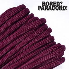 Bored Paracord Brand Paracord / Parachute Cord 7-Strand, 550 Lb. Break Strength Guaranteed U.S. Made, Type III - Burgundy (100 feet). For product & price info go to:  https://all4hiking.com/products/bored-paracord-brand-paracord-parachute-cord-7-strand-550-lb-break-strength-guaranteed-u-s-made-type-iii-burgundy-100-feet/